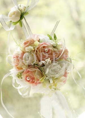 Pink and White Silk Cloth Wedding Bridal Bouquet