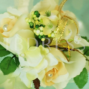 Marvellous Light Yellow Silk Cloth Wedding Wrist Corsage for Bride