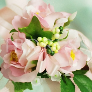 Pink Silk Cloth Flower Wedding Wrist Corsage for Bride