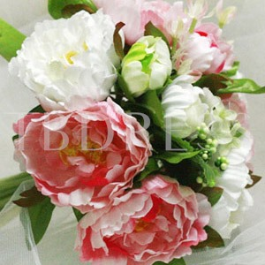 10 Pieces Pink and White Silk Cloth Flower Wedding Wrist Bouquet for Bride