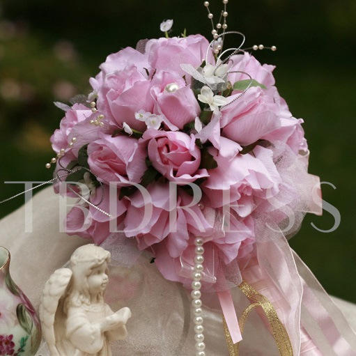 Gentle Small Purplish Pink Silk Cloth Wedding Bridal Bouquet