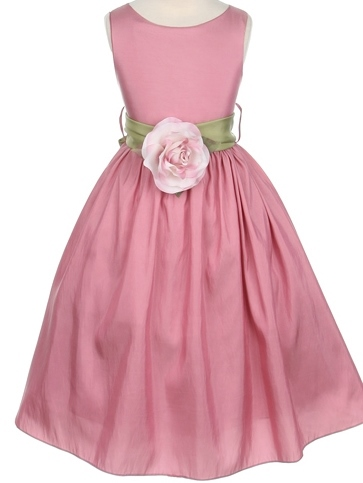 Round-Neck A-line Tea-Length Flower Embellishing Flower Girl Dress
