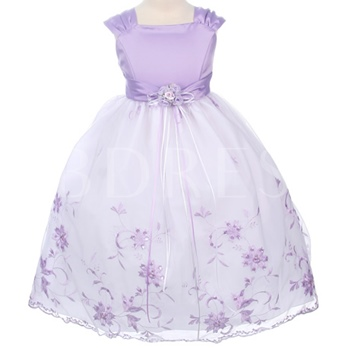 Ball Gown Floor-length Square Embroidery & BowknotFlower Girl Dress