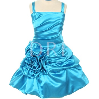 A-line Tea-length Square Pleated Flower Embellishing Flower Girl Dress