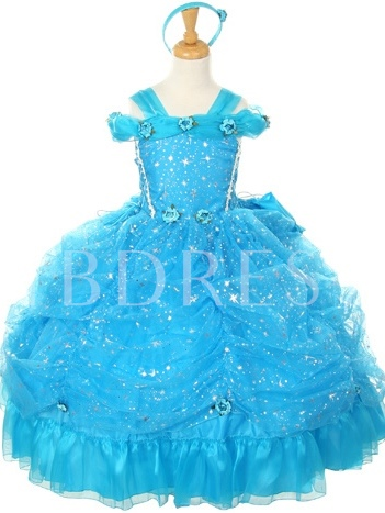 Straps Ball Gown Flowers Sequins Girls Party Dress