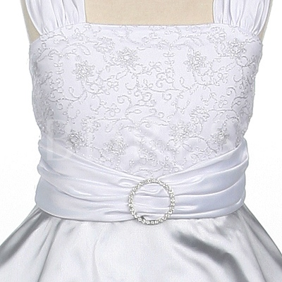 A-line Square Knee-Length Lace Flower Girl Dress