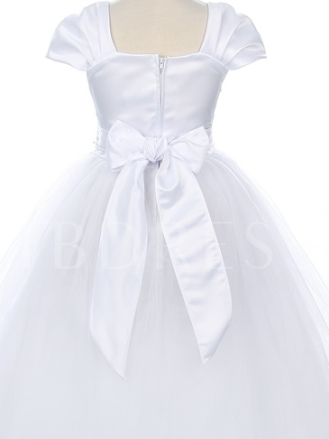 Ankle-length A-line Square Neckline Bowknot Flower Girl Dress