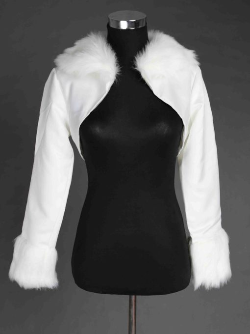 Long-Sleeve Satin & Faux Fur Wedding Jacket