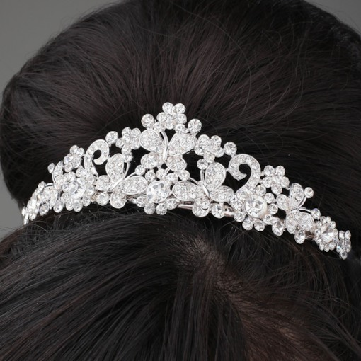 Butterfly Shaped Alloy and Rhinestone Tiara & Headpiece-HC