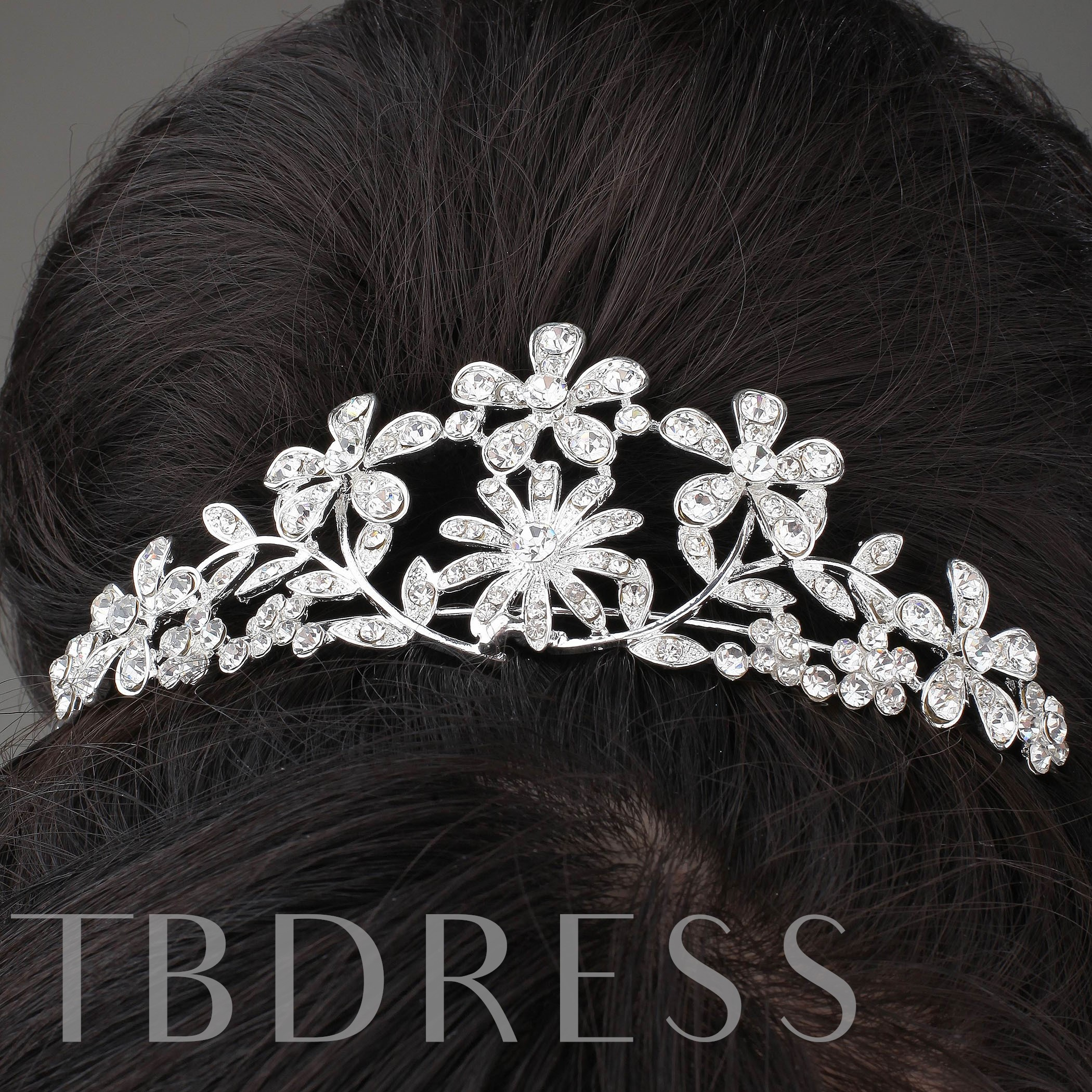 Charming Alloy and Rhinestone Flowers Tiara & Headpiece