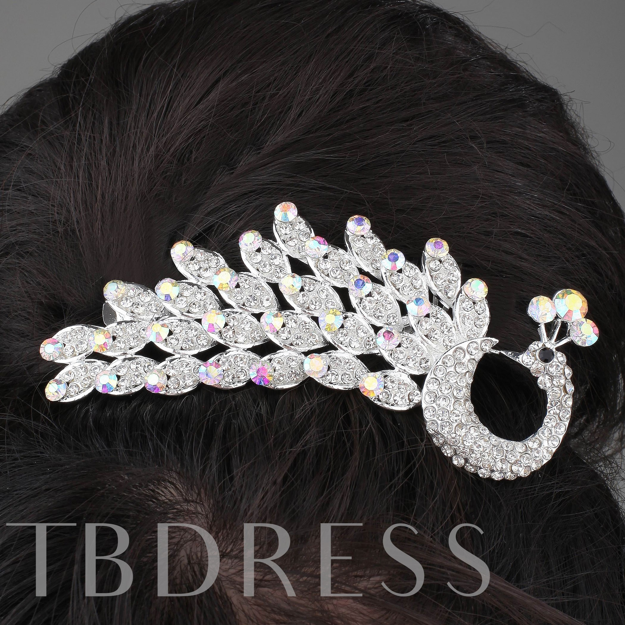 Alloy Peacock Design Rhinestone Inlaid Tiara & Headpiece-HC