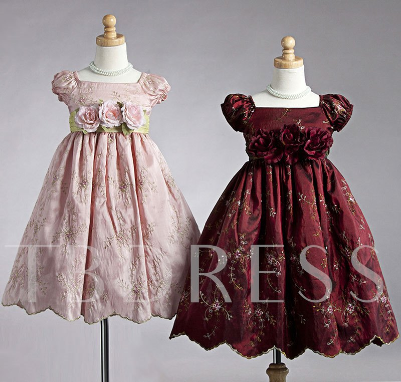 A-line Tea-length Square Puff-sleeve Flowers & Embroidery Flower Girl Dress