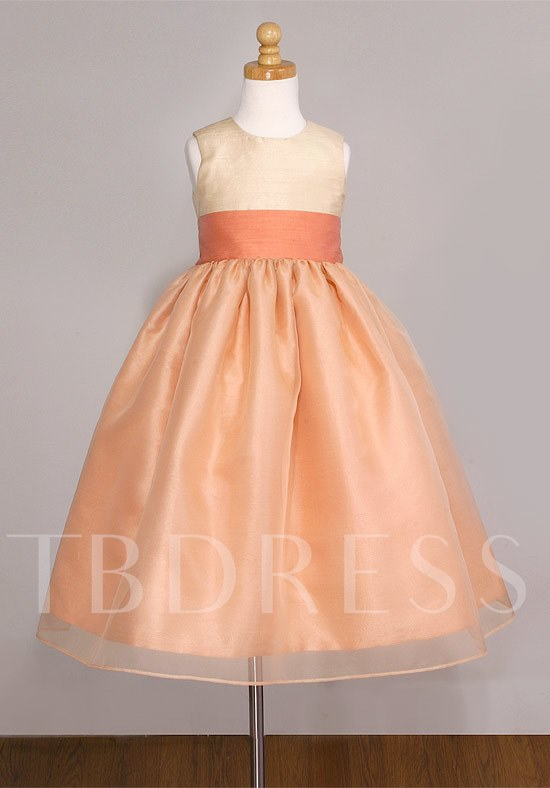 Jewel Ball Gown Sash Tea-length Flower Girl Dress