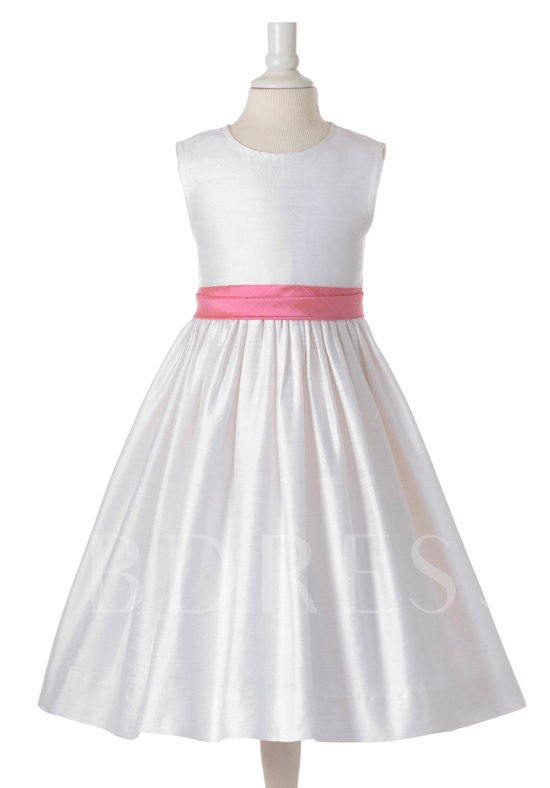 A-line Scoop Sash Flower Girl Dress