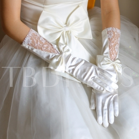 Satin Wedding Gloves with Bowknot