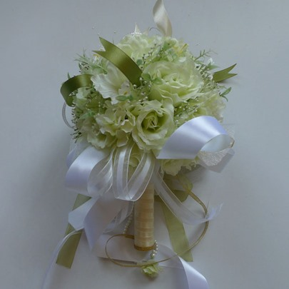 Pale Green Silk Cloth Wedding Bridal Bouquet with White Ribbon-bj001