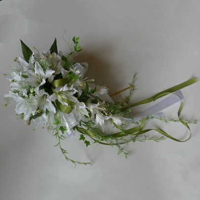 Waterfall Shaped White Silk Cloth Lily Wedding Bridal Bouquet with Green Ribbon-bj004