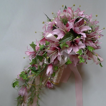 Rose Silk Cloth Lily Wedding Bridal Bouquet with Pink Ribbon-bj004