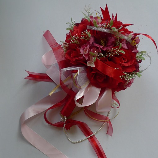 Passionate Red Silk Cloth Wedding Bridal Bouquet with Pink Ribbon-bj001