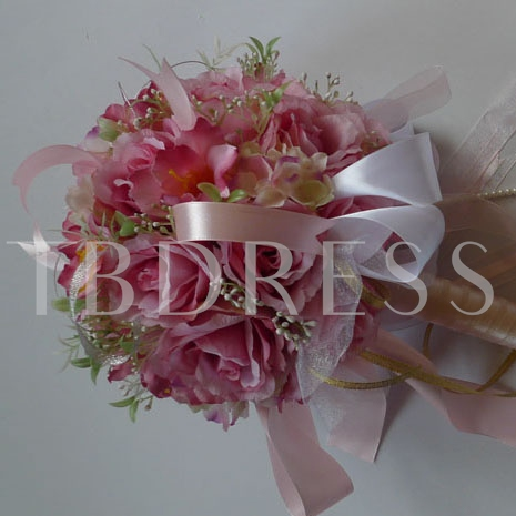 Rose Silk Cloth Wedding Bridal Bouquet with Pale Pink Ribbon-bj001