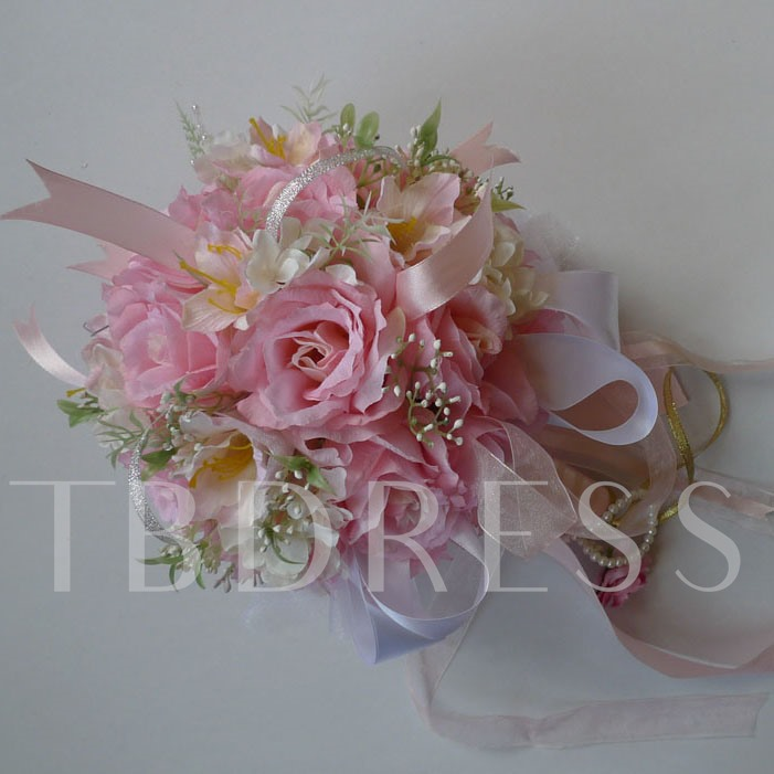 Pink Silk Cloth Wedding Bridal Bouquet with Ribbon-bj001