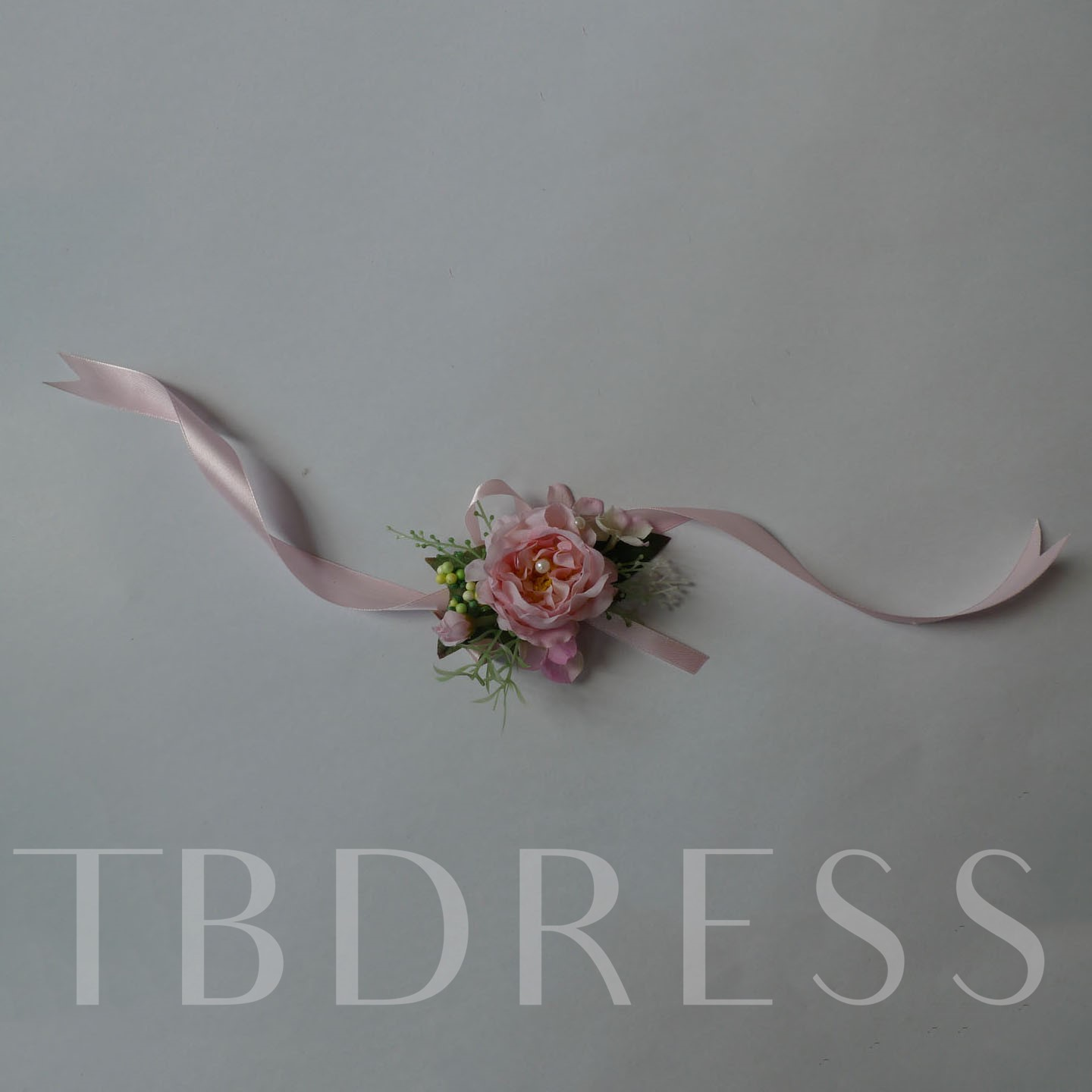 Pink Rose Shaped Silk Cloth Wedding Wrist Corsage-bj003