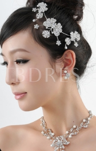 Flower Shaped Bridal Jewelry Set(Including Tiara, Necklace and Earrings)