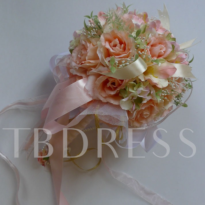 Pale Orange Silk Cloth Wedding Bridal Bouquet-bj001