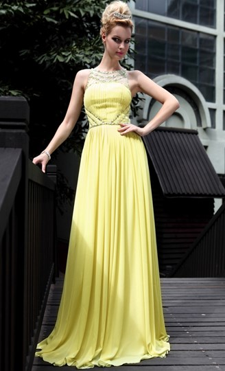 Bateau Neckline Floor-Length Evening Dress