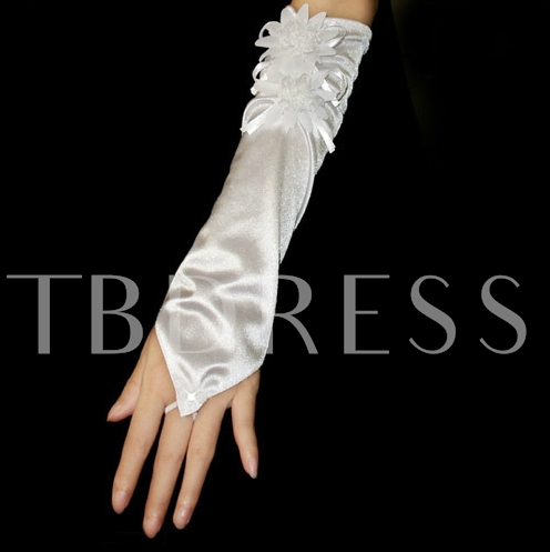 Smooth Long Fingerless Wedding Gloves with Flower Decoration
