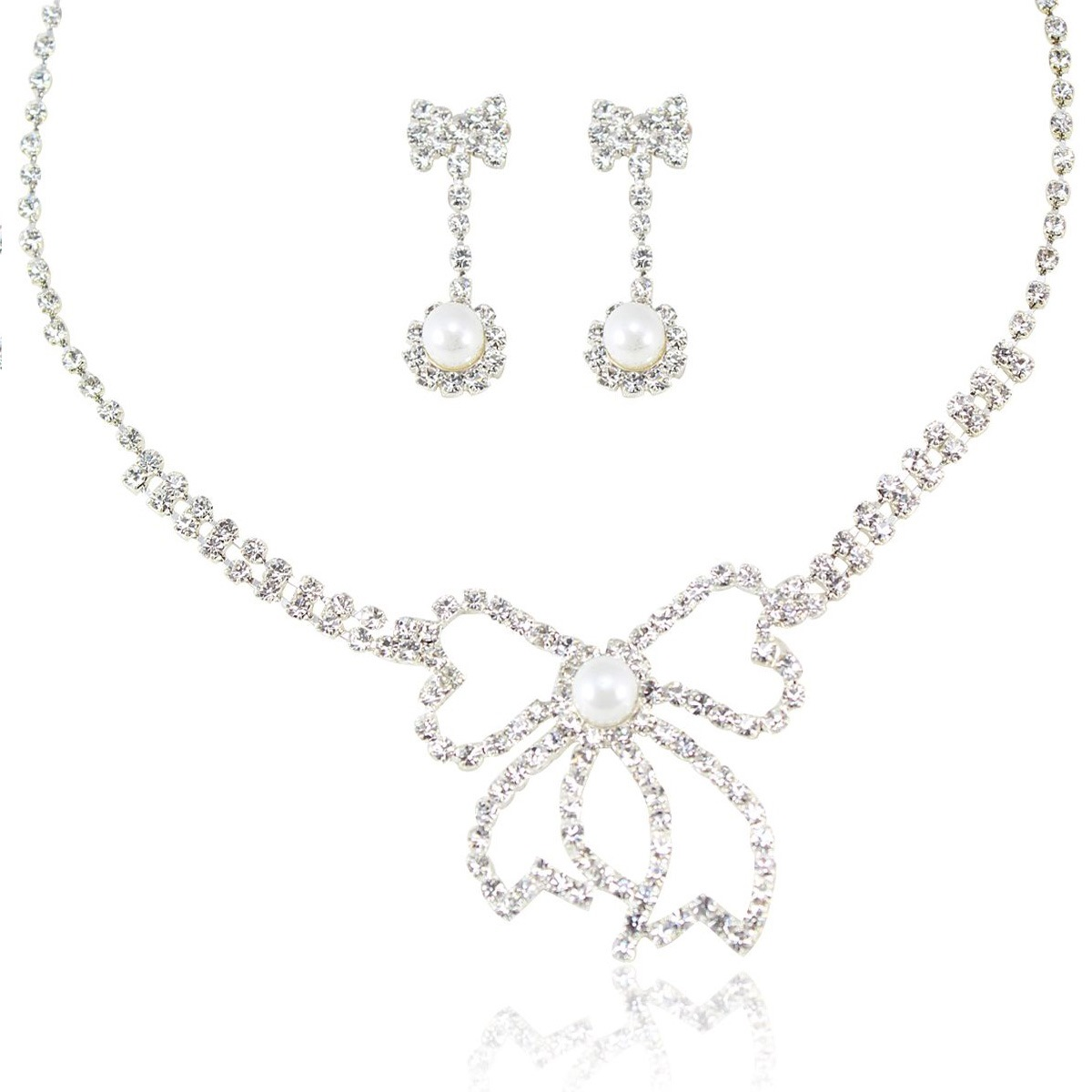 Pearl Wedding Bridal Jewelry Set with Flower Shaped Connector(Including Necklace and Earrings)
