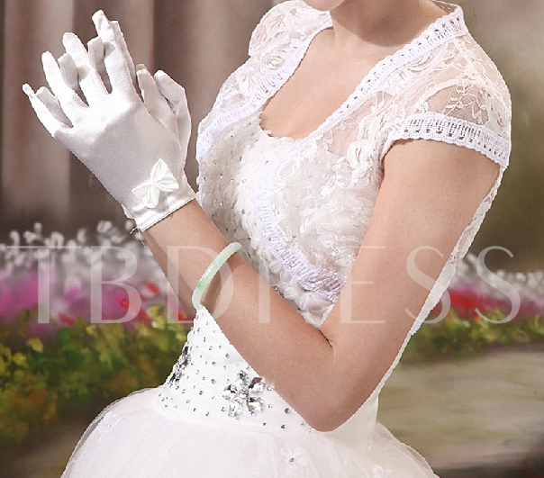 Short Satin Wedding Gloves