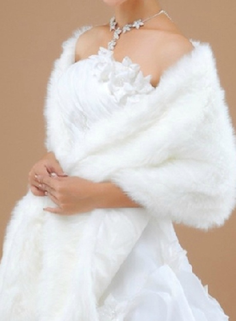 Long Faux Fur Wedding/Evening Shawl