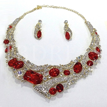 Red Rhinestone Jewelry Set(Including Necklace and Earrings)