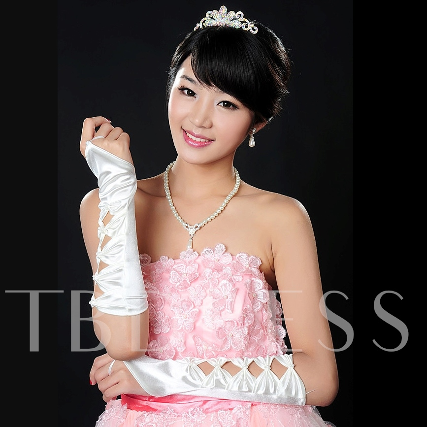 Fingerless Bowknot Shaped Wedding Gloves(white,black)