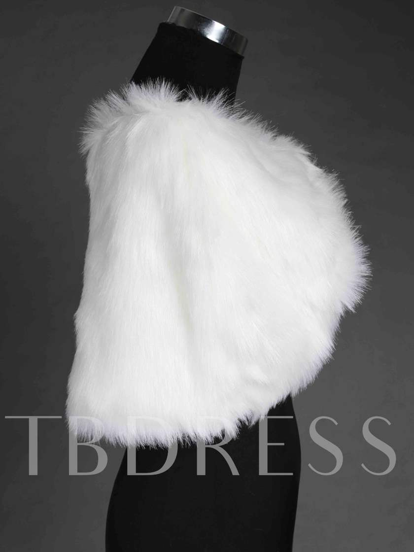 Faux Fur Ruched Wedding Shawl