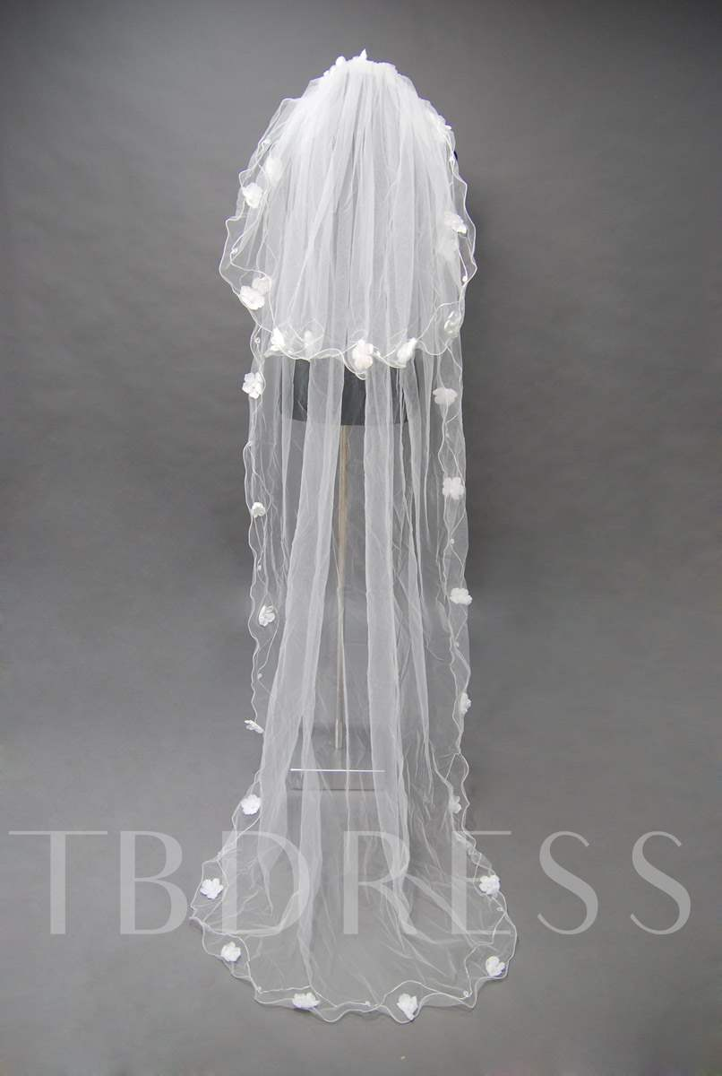 Floral Edge Wedding Bridal Veil VV83962