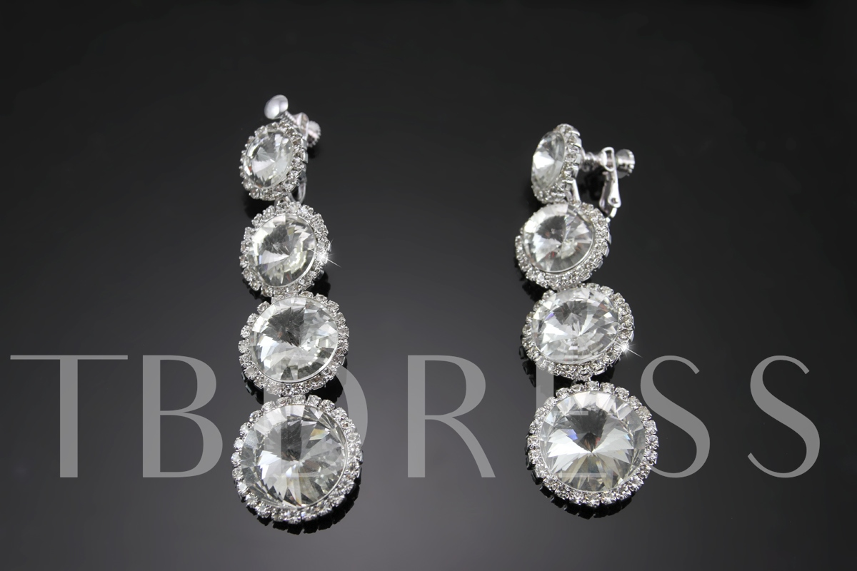 Round Alloy with Rhinestone Wedding Jewelry Set (Including Necklace and Earrings)