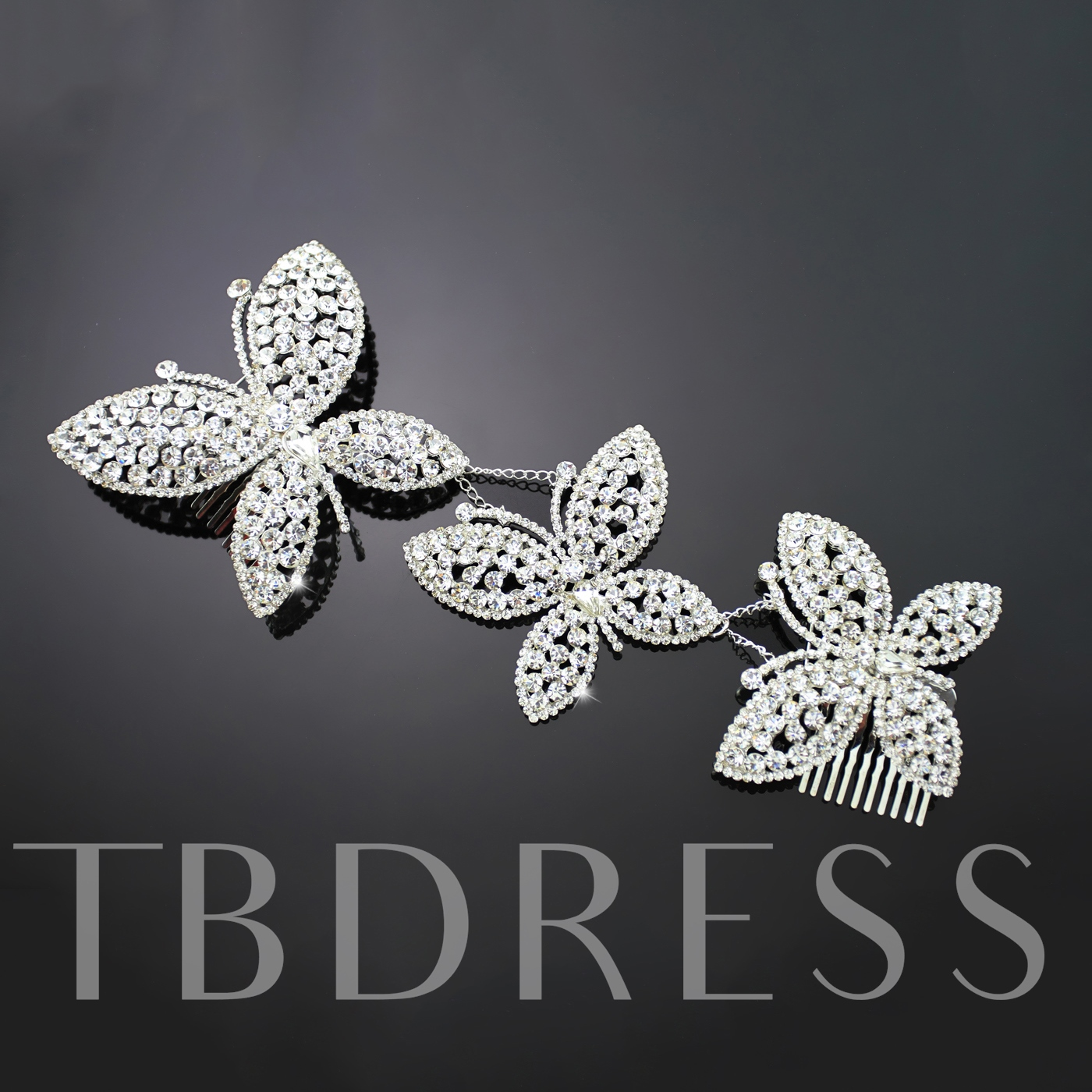 Butterfly Shaped Alloy with Rhinestone Wedding Bridal Tiara-DX