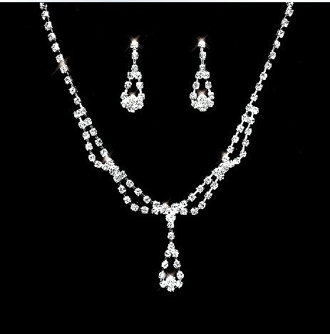 Alloy Full Rhinestone Inlaid Wedding Jewelry Set Including Necklace And Earrings