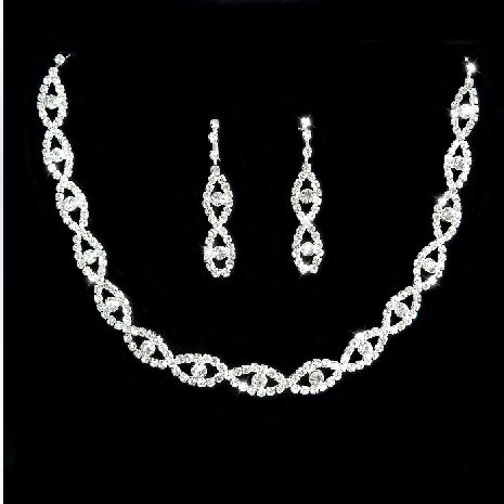 Alloy with Rhinestone Wedding Jewelry Set(Including Necklace and Earrings)