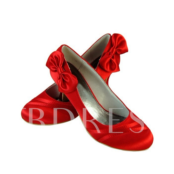 Red Satin Upper High Heel Pumps With Satin Flower Wedding Shoes MZ93