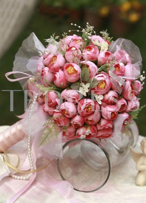 Pale Rose Silk Cloth Bud Wedding Bouquet for Bride