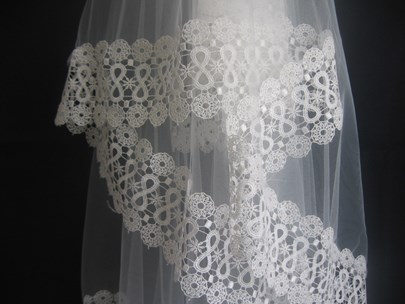 Perfect Fingertip Wedding Veil With Lace Edge