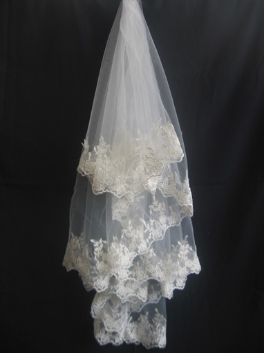 Pretty Fingertip Wedding Veil With Appliques Edge