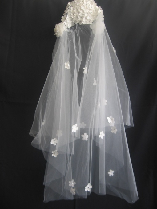 2-Layer Elbow Wedding Veils With Rinstone