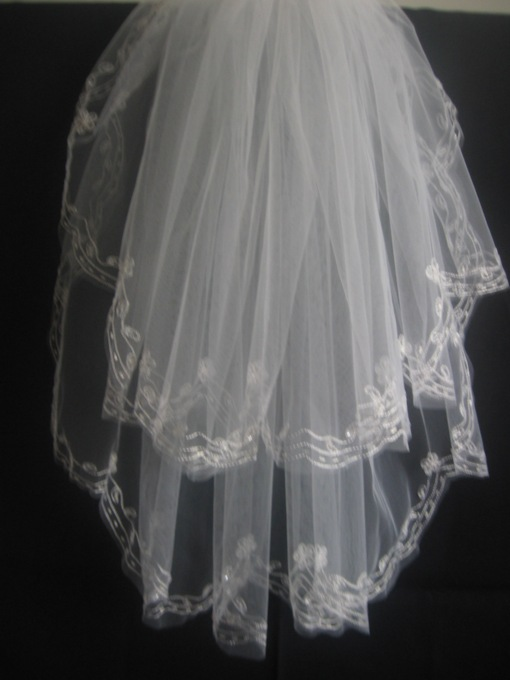 2-Layer Blusher Wedding Bridal Veil with Lace Applique Edge