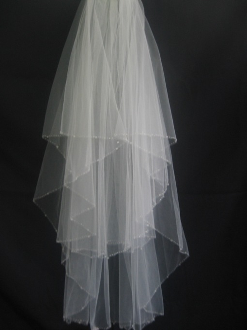 Modern 2-Layer Beaded Edge Elbow Wedding Bridal Veil