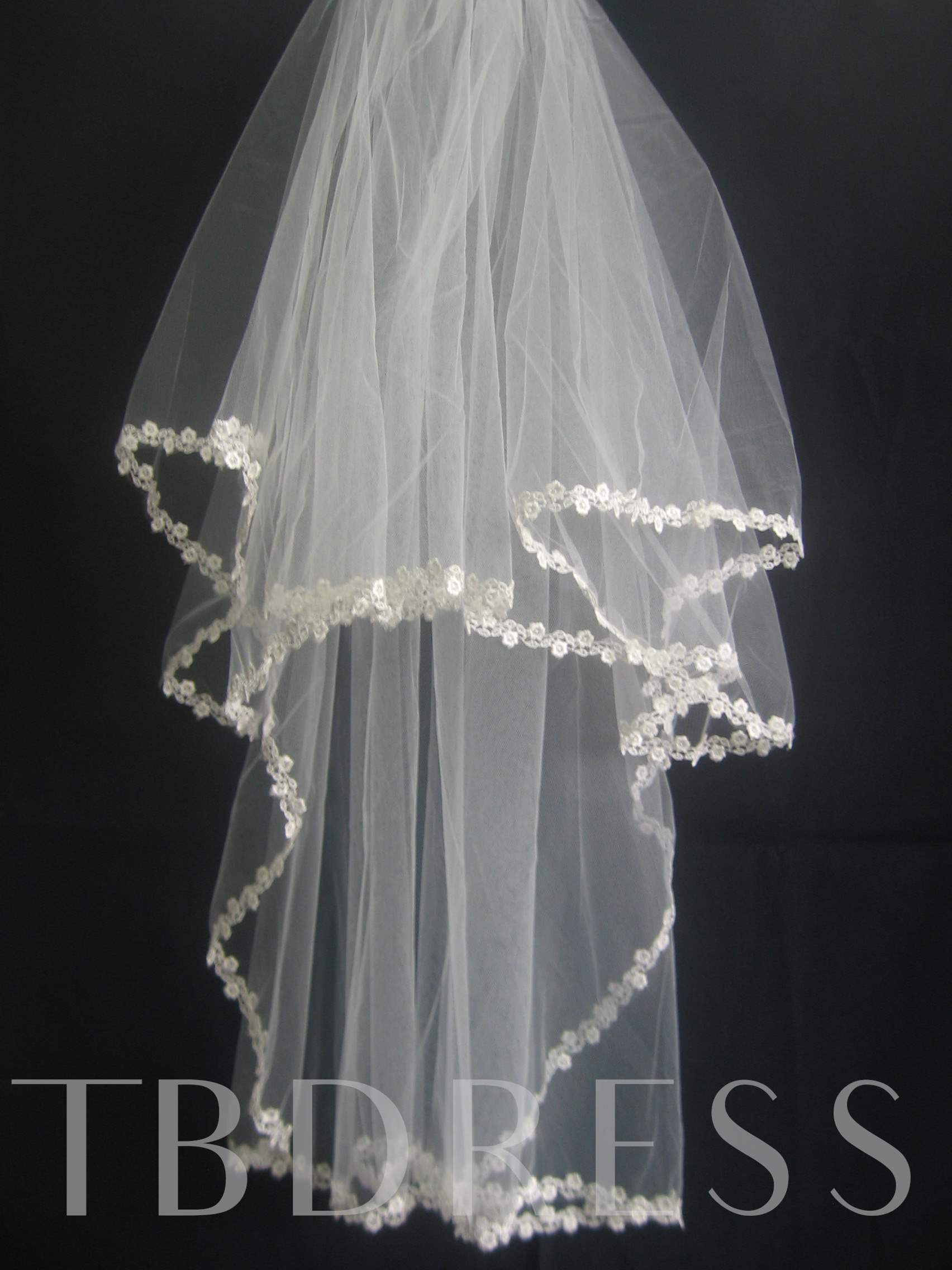 Smart 2-Layer Elbow Wedding Bridal Veils with Applique Edge
