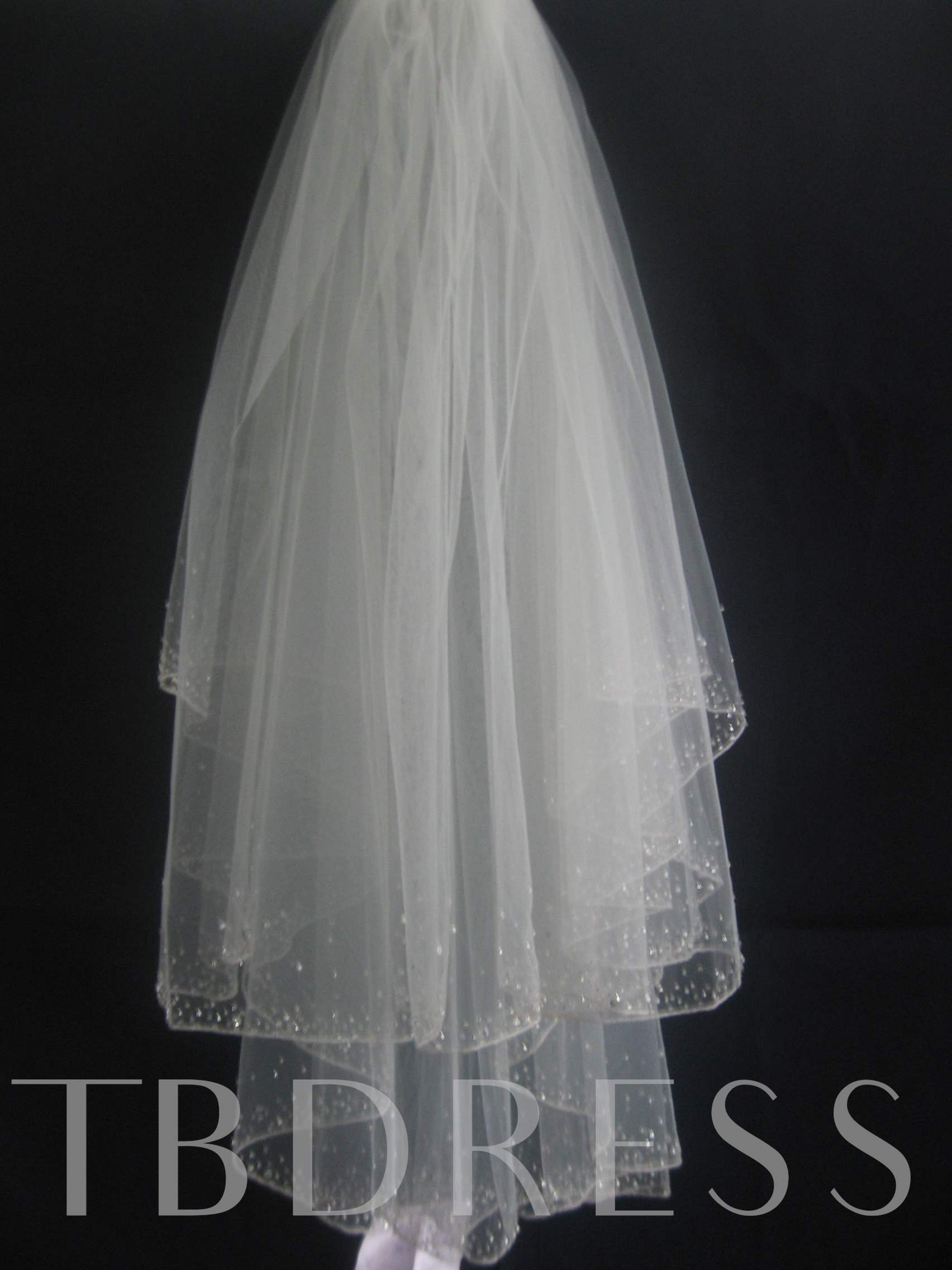 Fancy 2-Layer Elbow Wedding Bridal Veil with Beading